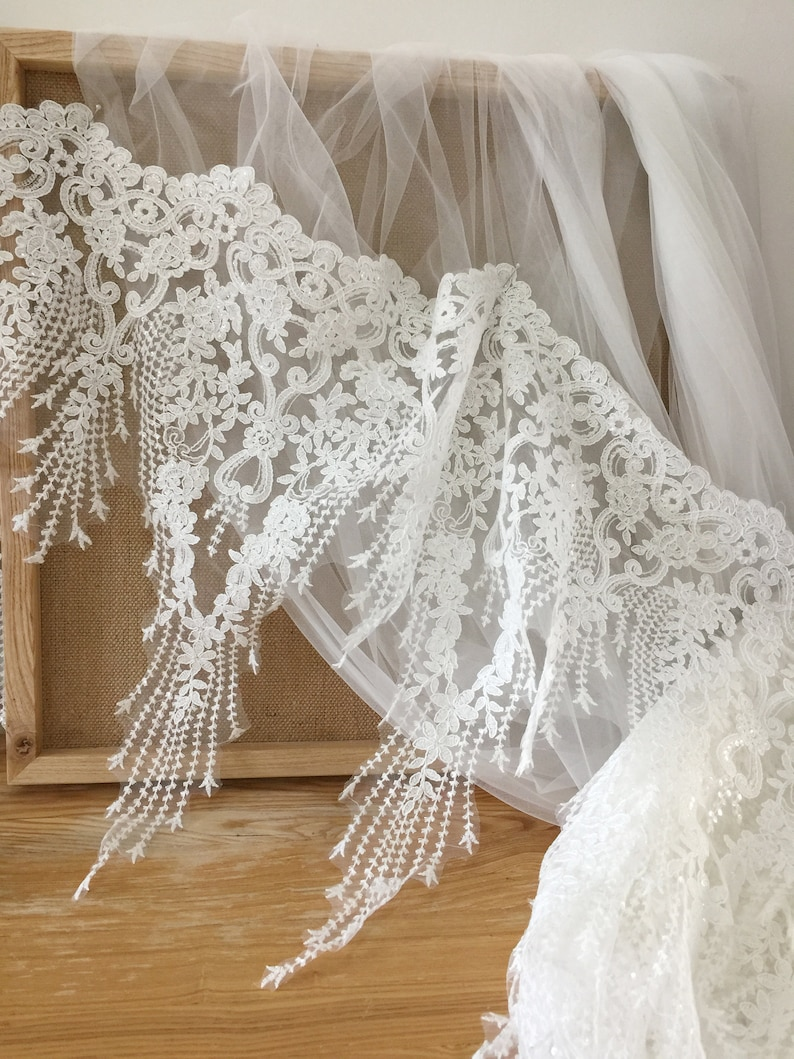Beaded BRIDAL WEDDING white lace fabric Trim EMBROIDERY VEIL DRESS 55cm