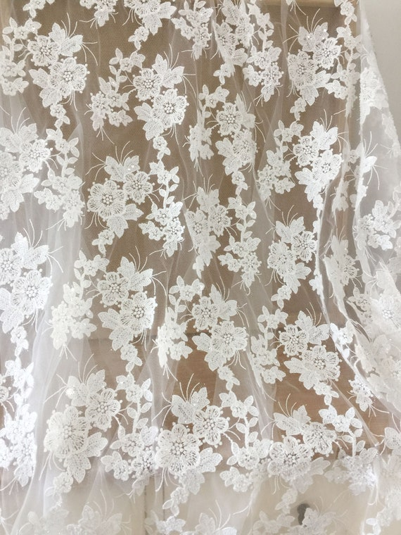 Sold by the yard Black Bridal Floral Mesh w// Embroidery Hand Beaded Lace Fabric