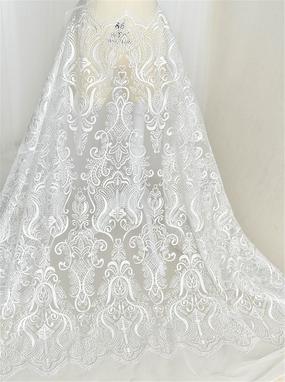 Exquisite Embroidery Lace Fabric Tulle Lace Wedding Bridal Dress Fabric Floral Lace Guipure Mesh Lace Fabric By The Yard