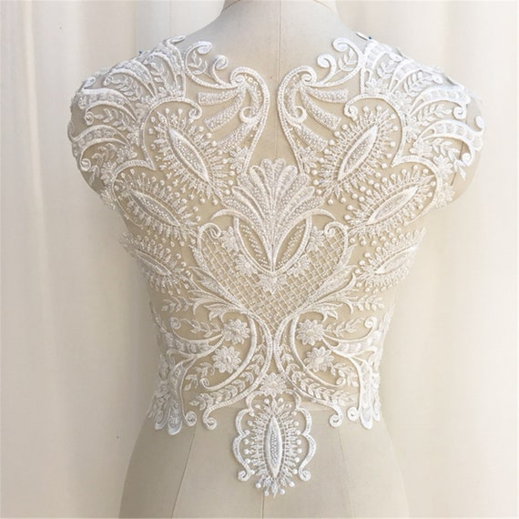 Exquisite Embroidery Lace Applique for Wedding Dress Bridal Bodice Lace,Super Large Lace Patch,Tulle Embroidered Lace Applique By The Piece