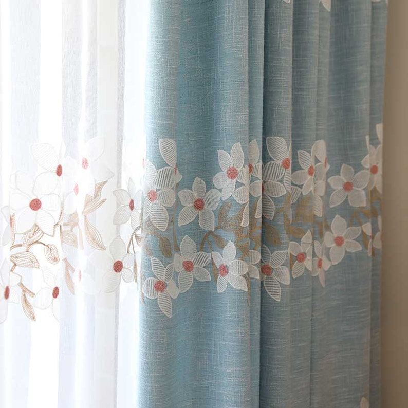blue and pink color curtain Custom embroidered blackout curtain \uff0cfloral curtain for bedroom and living room