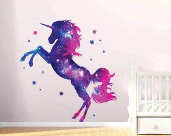 480c8aa97ab1e Stars Unicorn Wall Decal Stickers Fantasy Girls Bedroom Wall Art Cute  Nursery