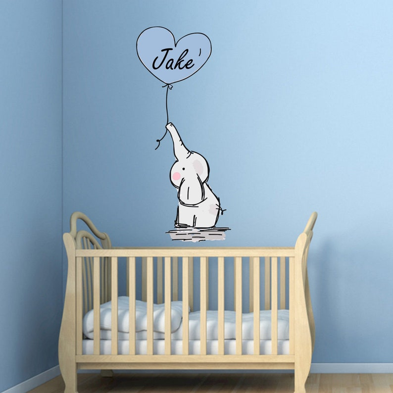 personalised baby elephant wall decal sticker balloons nursery | etsy
