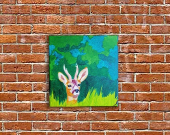 small acrylic painting on canvas deer decoration in the forest