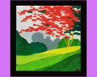 acrylic painting on canvas small format decorating colorful-flamboyant tree theme