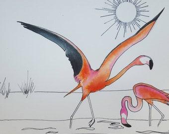 illustration drawing ink and watercolors pink flamingos- flight