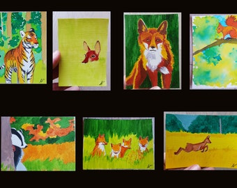 miniature orginal acrylic painting unique ACEO map on forest animal theme paper