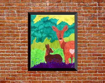 acrulic painting on canvas animal mural decoration of deer forests and fawn - spring
