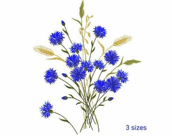 Cornflowers Bouquet with Spikelets Machine Embroidery Design 3 SIZES, Sketch Machine Embroidery Knapweeds and Wheat Ears, Instant Download.