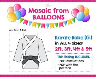 Karate Mosaic from Balloons, Karate Robe, Gi Mosaic From Balloons, Giant Karate Template, Mosaic from Balloons PDF File