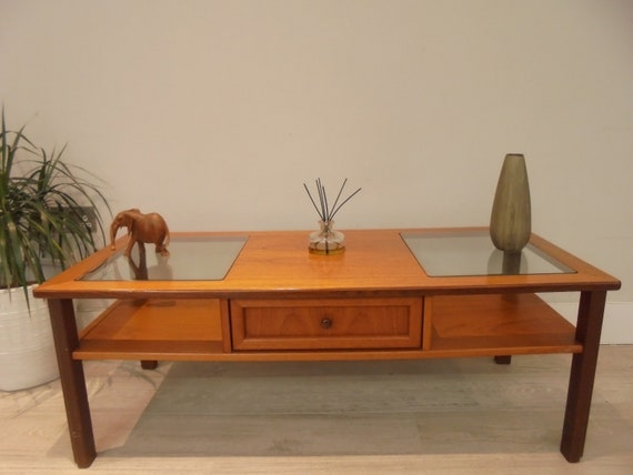 Soldg Plan Retro Clear Glass And Teak Coffee Table With Etsy