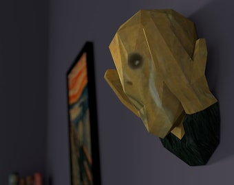 3D Paper Craft Low Poly Object Art Doll Model Pattern DIY - The Scream Edvard Munch