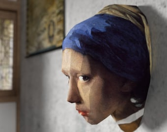 3D Paper Craft Low Poly Object Art Doll Model Pattern DIY - The Girl With The Pearl Earring - Johannes Vermeer