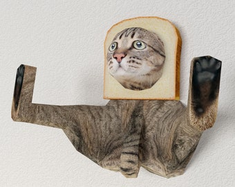 3D Paper Craft Low Poly Object Art Doll Model Pattern DIY - CAT & BREAD