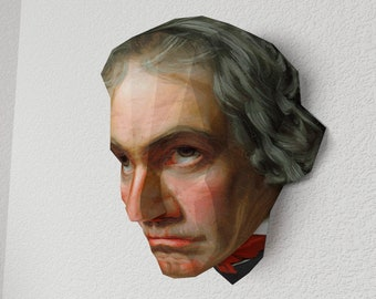 3D Paper Craft Low Poly portrait Object Art Model Pattern DIY - Ludwig van Beethoven - Wall hanging Decor
