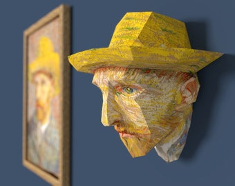 3D Paper Craft Low Poly Object Art Model Pattern DIY - Vincent van Gogh with Straw Hat