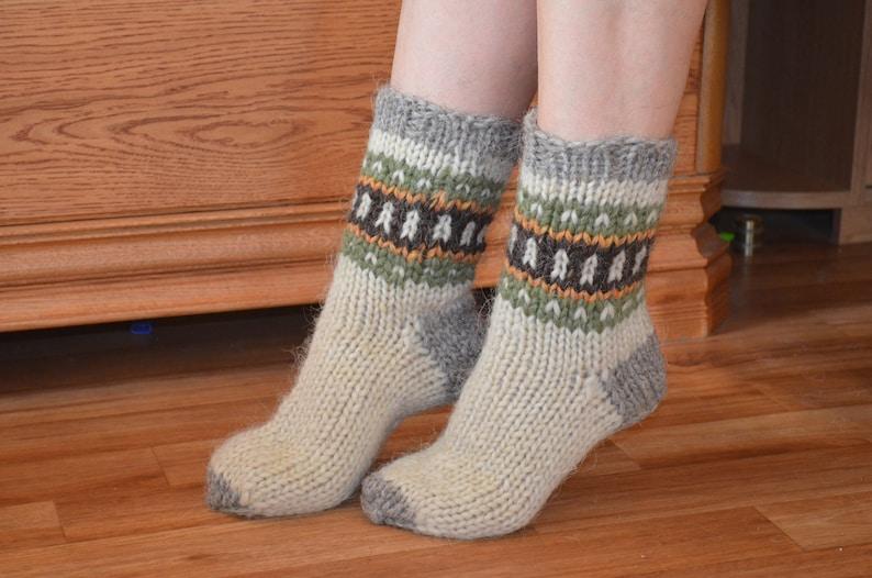 Hand knitted wool socks Pure sheep wool socks   Christmas gifts Unisex Handmade Unisex adults