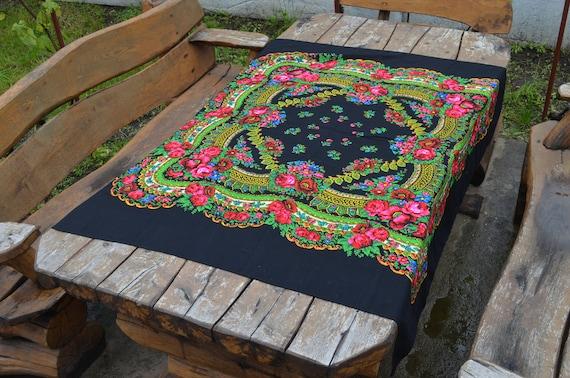VINTAGE Woolen shawl great times USSR Russian Wool