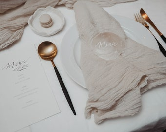 """Mother-of-pearl discs """"Personalized"""" place cards, shells"""