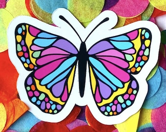 Rainbow Butterfly Sticker | Glossy Decal