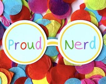 Proud Nerd Sticker | Geek Glasses Decal | Rainbow Glossy Sticker
