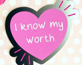 I Know My Worth Sticker | Black & Pink Punky Heart Decal |