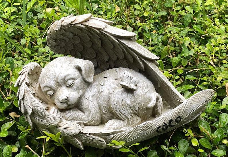 Sleeping Dog in Angel Wing Dog Memory Resin Stone Garden image 0