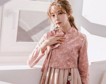 b8eed2fe82 Bunyeonhwa jeogori+Suhwa Pink dress set/hanbok/korean daily hanbok/chushop/women  hanbok/top/dress/blouses/women's clothing