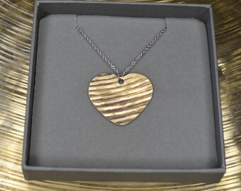 Recycled Cymbal Bronze Heart Pendant