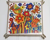 vintage rainbow colors ceramic trivet in metal stand, kitchen decor, plant stand, home decor, mcm, boho, roygbiv