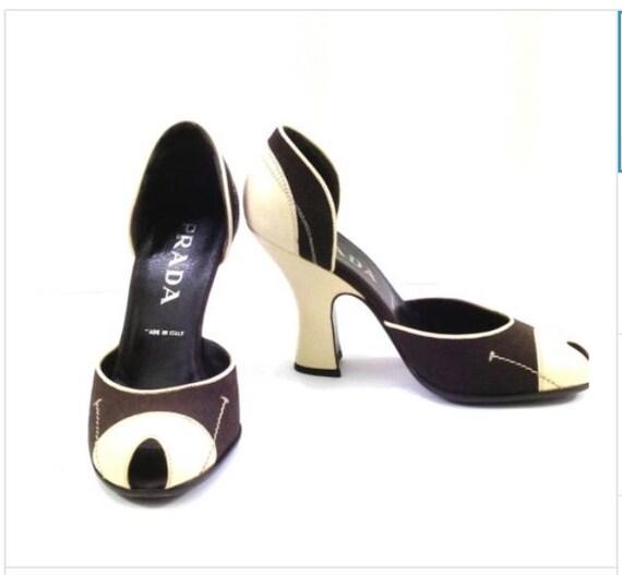 PRADA ivory leather and brown canvas pumps Peep toe 4 uk 7 37