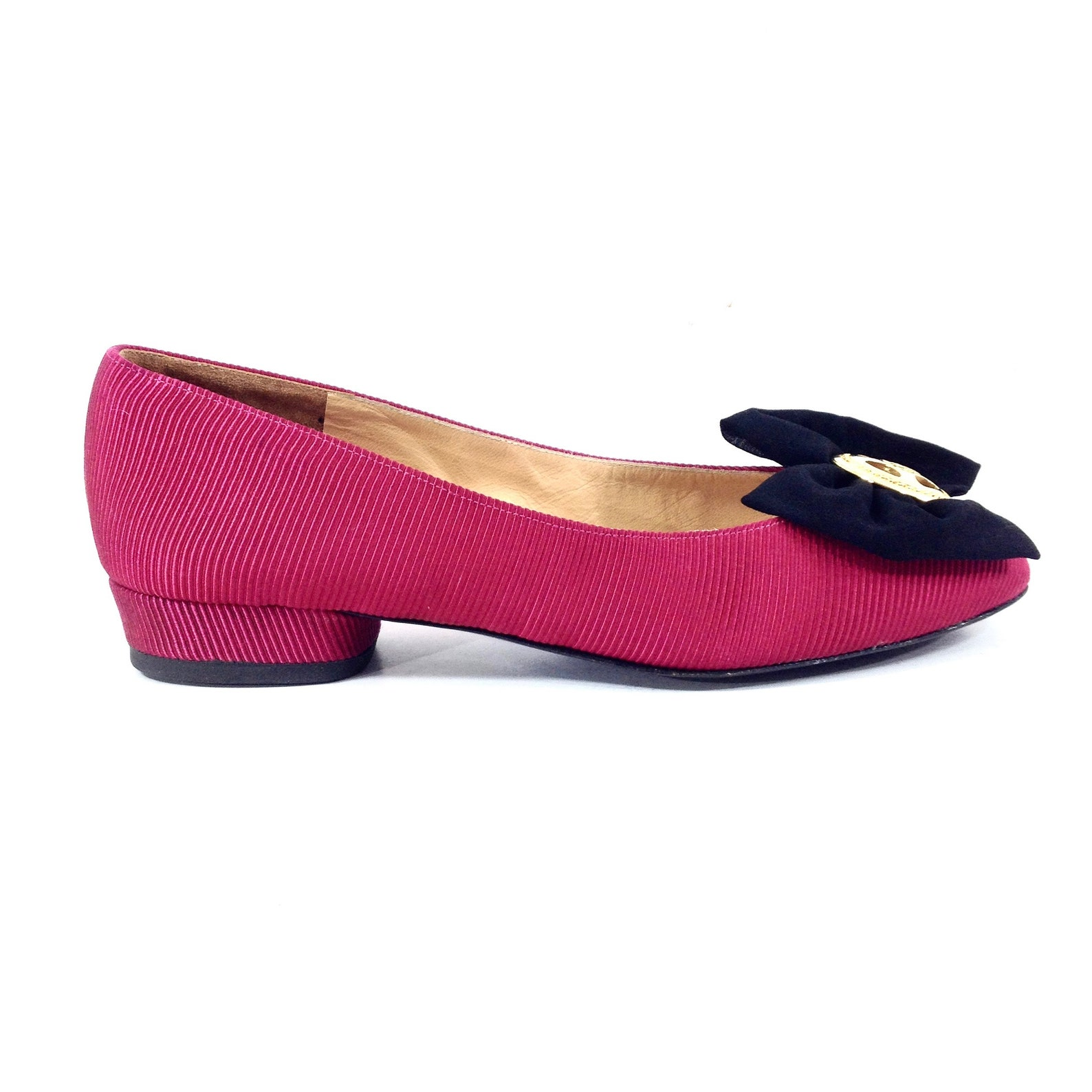 charles jourdan red fuchsia silk ballet flats 37/ 6.5us