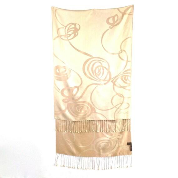 Loewe beige thick silk reversible big scarf shawl