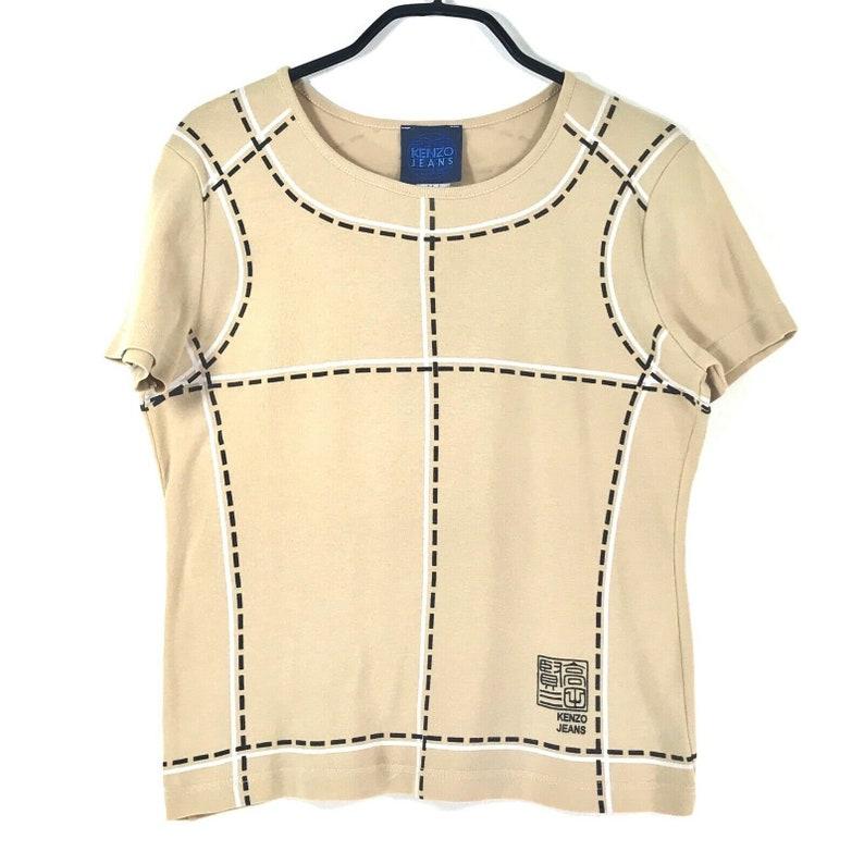 M label It  8 US KENZO tan brown logos T-SHIRT sz