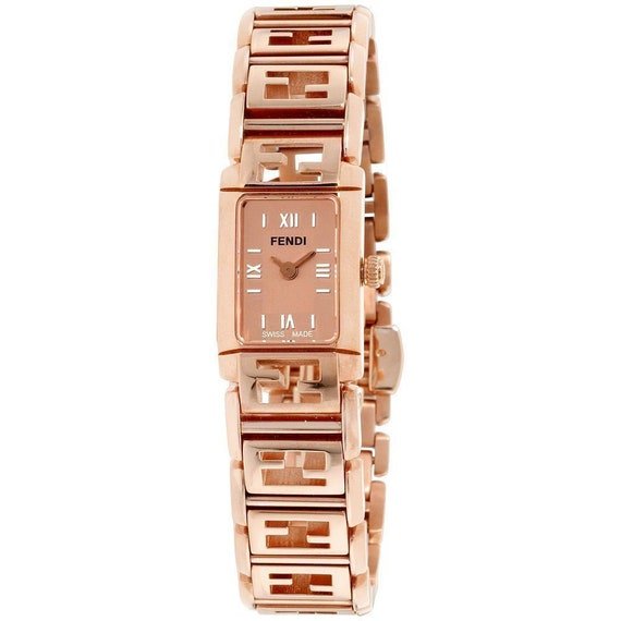 "FENDI ""FOREVER"" rose gold, all Zucca logos band wr"