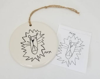 ceramic ornament made with YOUR child's drawing / christmas ornament / kid drawing transfer / teacher gift / holiday decoration / child art