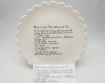 scalloped edge dinner plate family recipe plate / handwriting dish / handwriting plate / pie plate / recipe transfer / memorial gift