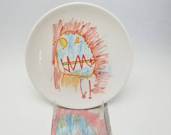 child's drawing transfer IN COLOR / kid artwork / salad plate / snack plate / dessert plate / father's day / dad gift / grandparent gift