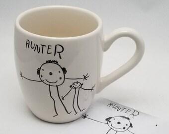 child's drawing transfer / coffee mug / favorite mug / kids artwork mug / teacher gift / mom gift / dad gift / grandparent gift / child art