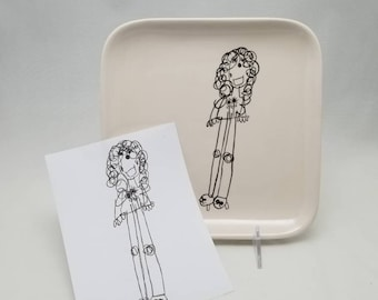 square plate with child's drawing transfer / kid artwork / cake plate / snack plate / dessert plate / mom gift / dad gift / grandparent gift