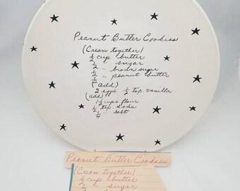 handwriting platter / handwriting platter / recipe platter / large platter / family recipe plate