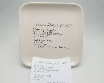 square plate with YOUR recipe / hand painted recipe plate / handwriting transfer plate / family recipe small plate / memorial gift