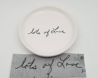 jewelry dish with handwriting / handwriting plate / handwriting dish / ring dish / sympathy gift / gift for loss/ memorial gift / grief gift
