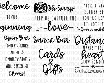 Wedding Sign SVG Bundle, Cards and Gifts, Snack Bar, Open Bar, Distance Makes the Heart Grow Fonder, Welcome to Our Beginning, DIY, Cut File