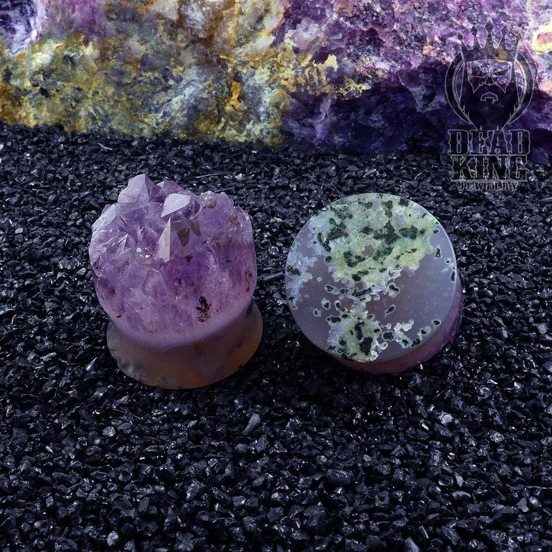 Round tunnels Amethyst crystal druzy Teardrop stone plug Unique ear tunnels Double Flare Plugs.
