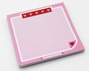 Pink red Mini memo pad, pink red Design Notes, Cute Memo Pad, 50 Sheets, Planner, Stationery