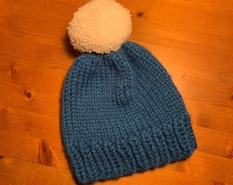 b3d3d2cb406 Premium Chunky Blue Beanie Hat with White pom pom  Fitted hat
