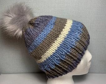 a8be82f22eade6 Blue faux fur pompom hat/ faux fur beanie hat/ pom pom hat/ Women's pompom  hat/ Adult faux fur pom pom hat