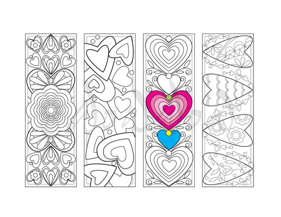 Heart Coloring Bookmarks Floral Coloring Page Hearts And Etsy