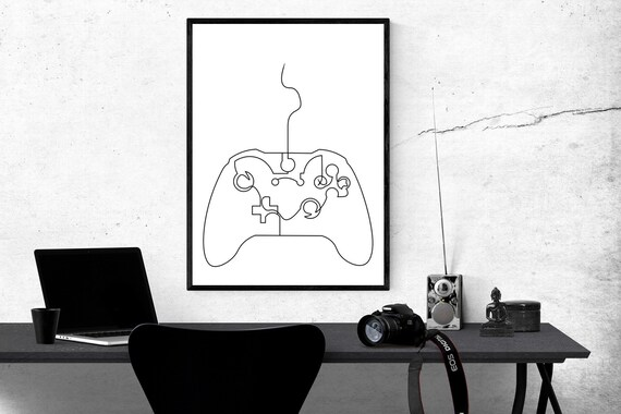 Abstract Xbox Controller Line Drawing Minimalist Art Wall Etsy